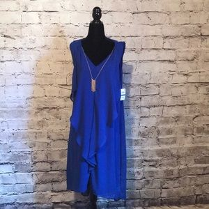 Royal blue ruffle dress with built in necklace